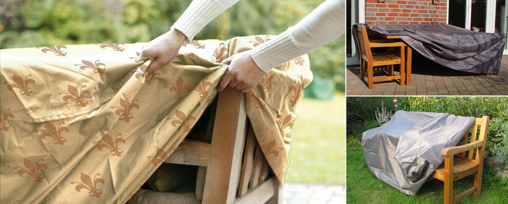 Pokrowce efektywnie i szybko chronią Twoje meble ogrodowe przed wilgocią i kurzem. Ławka, stół z krzesłami, leżanka, parasol przeciwsłoneczny, grila czy też kosiarkę do trawy - tutaj znajdziesz pasującą osłonę.