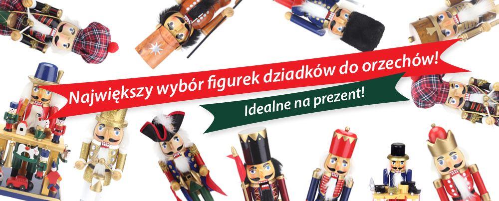 Dziadki do orzechów i inne drewniane figurki do kadzidełek  Te tradycyjne, drewniane figurki wykonane w stylu regionu Rudaw stanowią klasyczną dekorację bożonarodzeniową. Ale już w adwencie dbają o świąteczny nastrój. Dziadki do orzechów i figurki do kadzidełek dostępne są w wielu różnych rozmiarach, modelach i kolorach.