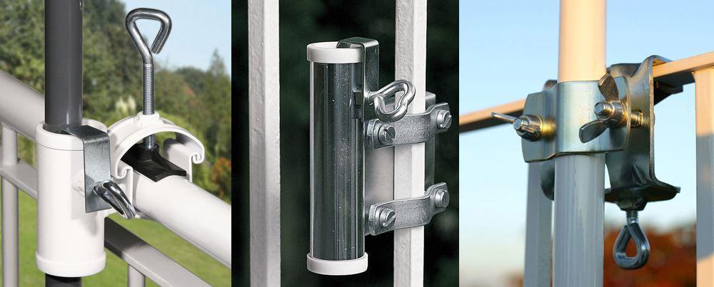 Duży wybór uchwytów do parasoli ogrodowych mocowanych do poręczy, murków i balustrad
